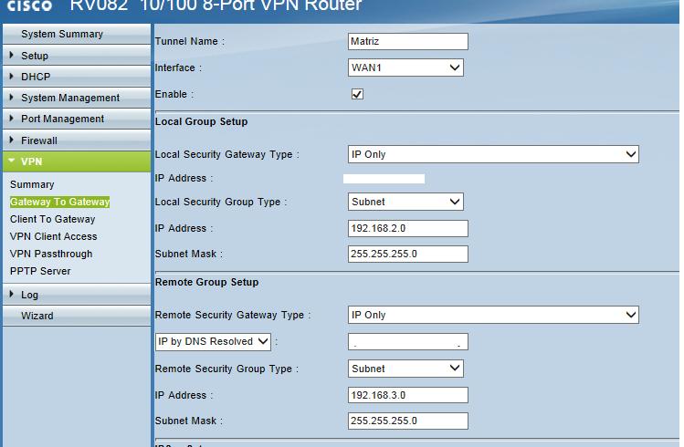 Cisco rv180 site to site vpn setup