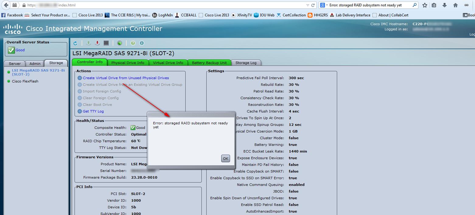 Solved: C220M3 LSI Storaged Raid Subsystem not     - Cisco Community