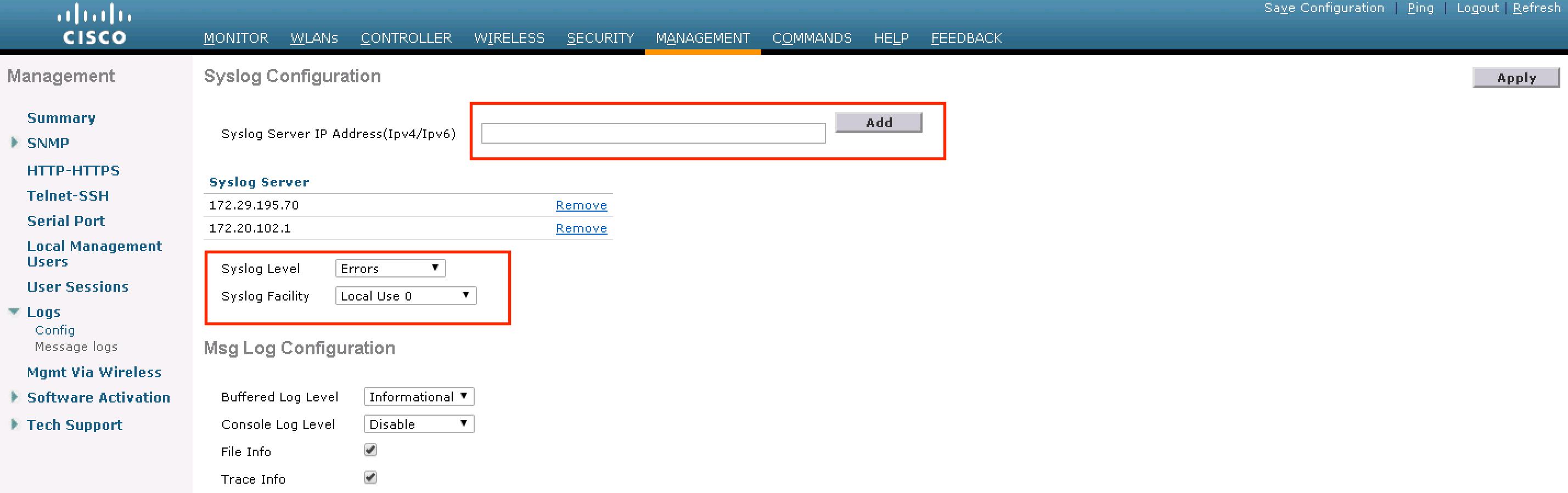 WLC Syslog Configuration