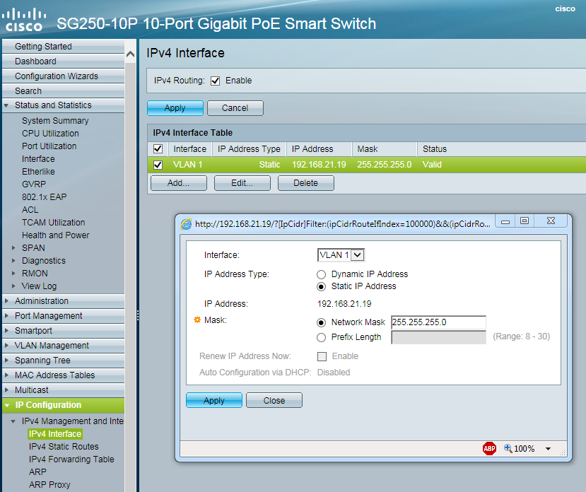 SG250-10P Cannot assign Static IP addre    - Cisco Community