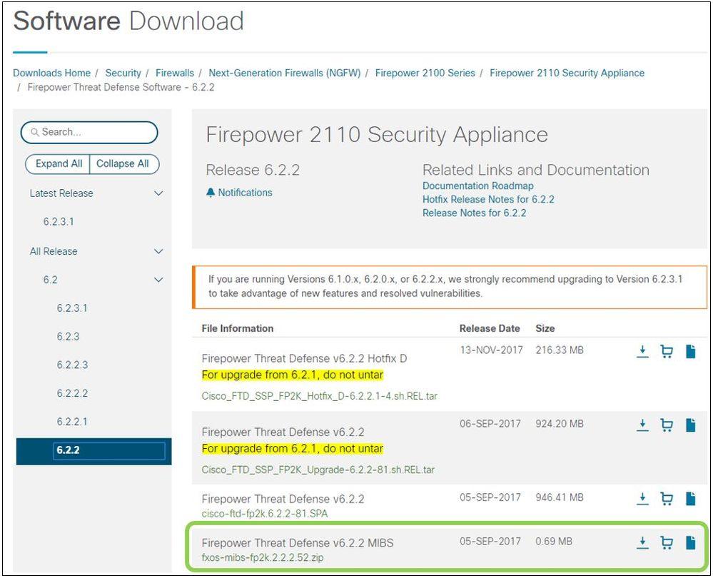 FXOS: FPR2100/4100/9300シリーズ FXOS用のMIBファ    - Cisco
