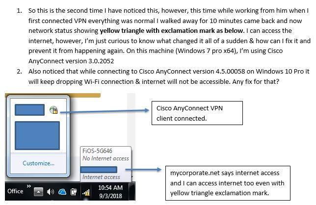 Cisco anyconnect yellow triangle