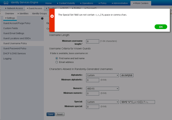 Solved: Guest username cannot contain comma (do    - Cisco