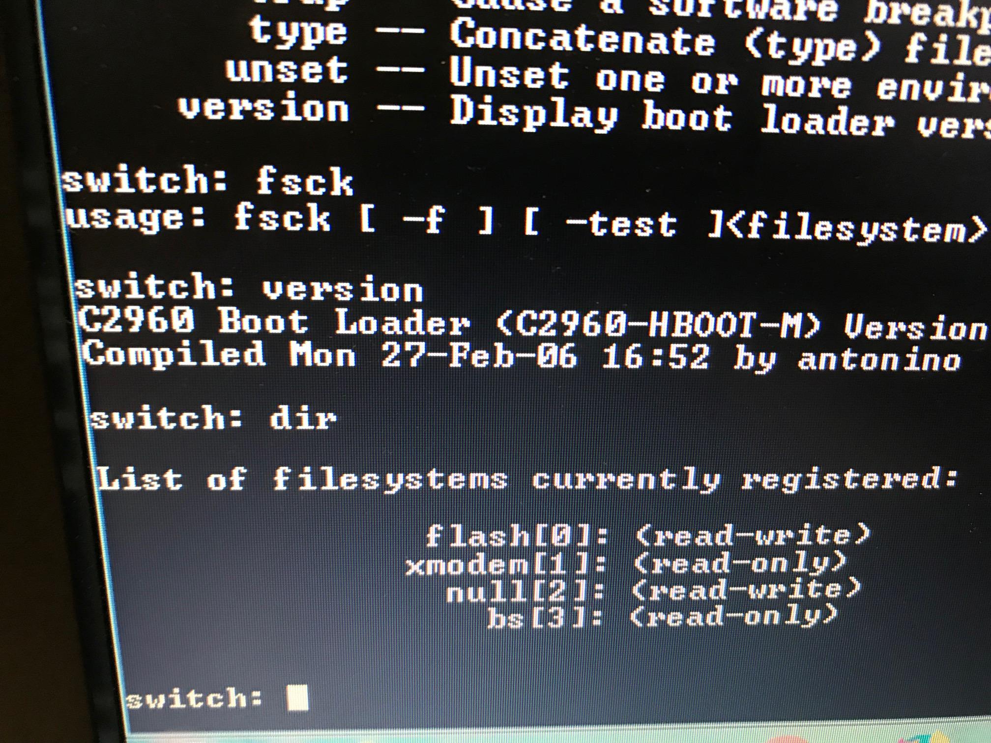 Solved: Cisco 2960-24TC-L Switch wont boot - Cisco Community