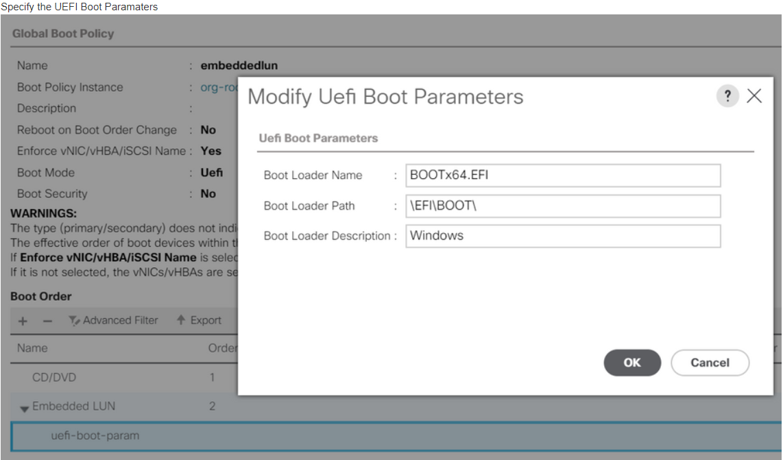 Solved: Unable to set UCSM boot order rules to     - Cisco