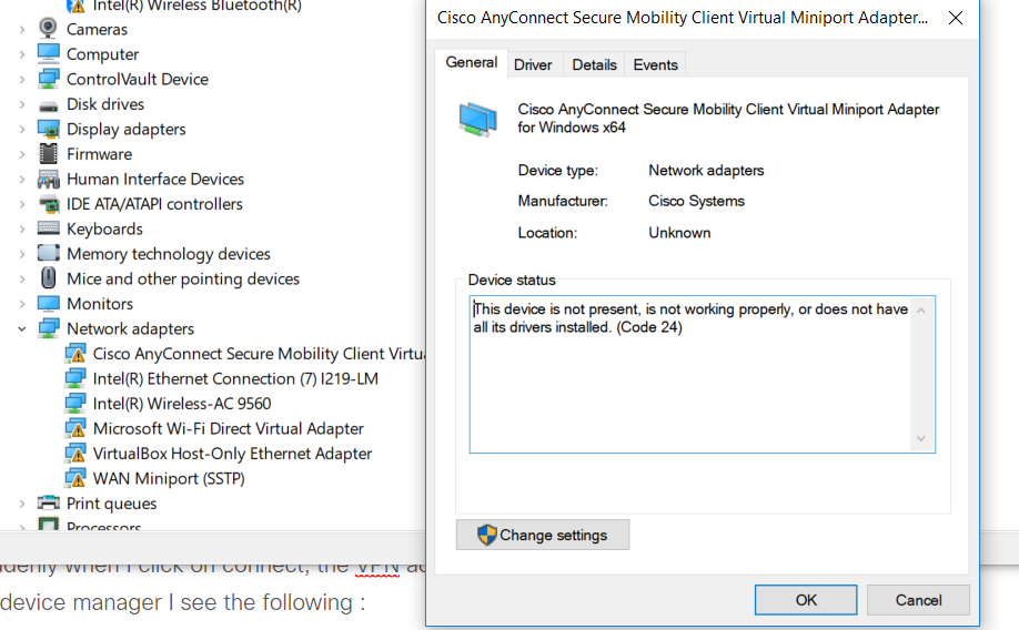 Cisco VPN AnyConnect Adapter disappears - Cisco Community