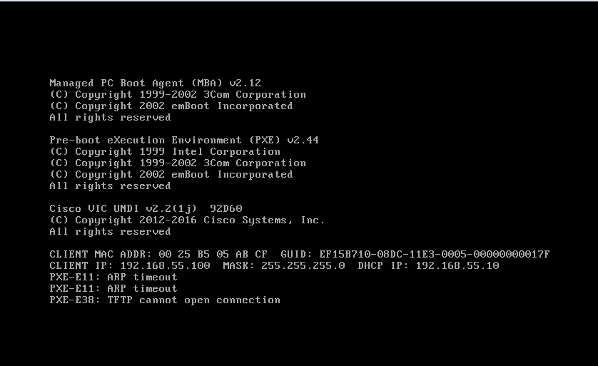 Solved: Can't PXE Boot [but the PXE request suc    - Cisco
